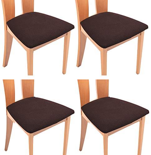 TIANSHU Funda Asiento Silla,Fundas elásticas para Asientos de sillas de Comedor y Oficina Jacquard Poliéster Elástica Fundas sillas Duradera(Paquete de 4,Chocolates)