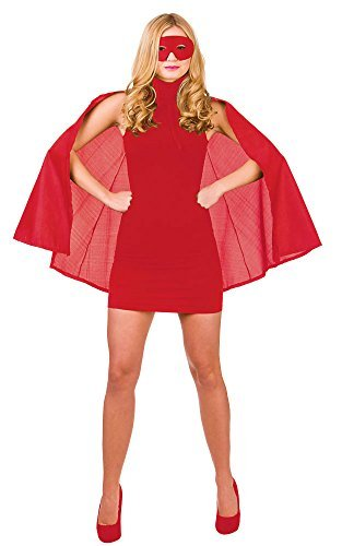 Red Superhero Cape & Mask - Adult Accessory Adult - One Size