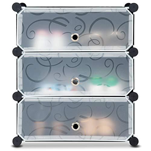 Giantex Zapatero de plástico, zapatero con puertas, 3 compartimentos, incluye martillo.