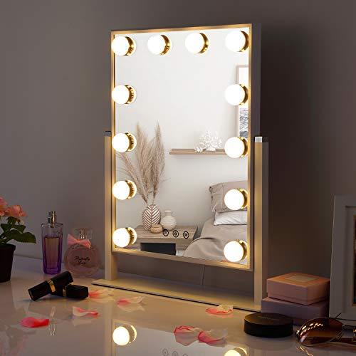HAMSWAN Hollywood Espejo de Mesa, Espejo de Tocador para Maquillaje con Iluminación Ajustable y 3 Modos de Luces, Espejo de Maquillaje con Hollywood Bombilla Grande
