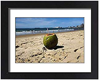 Media Storehouse Framed 15x11 Print of A Coconut is Pictured at a Beach in Fortaleza (19243239)