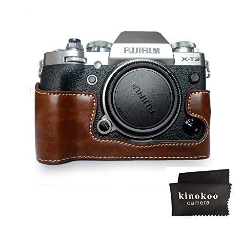 Fuji X-T3 Funda para cámara, Media Funda kinokoo para Fujifilm X-T3 Funda Protectora Cubierta Inferior (café)