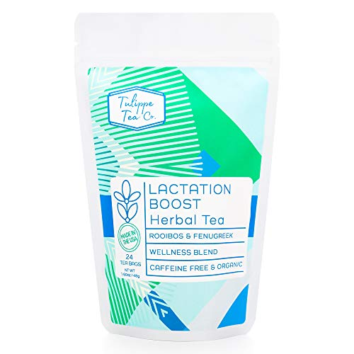 Tulippe Lactation Boost Herbal Tea, Lactation Support Tea with Fennel Seed and Raspberry Leaf, Caffeine Free Tea, Breastfeeding Tea, Vegan, Non-GMO & Organic Tea - 24 Tea Sachet Bags