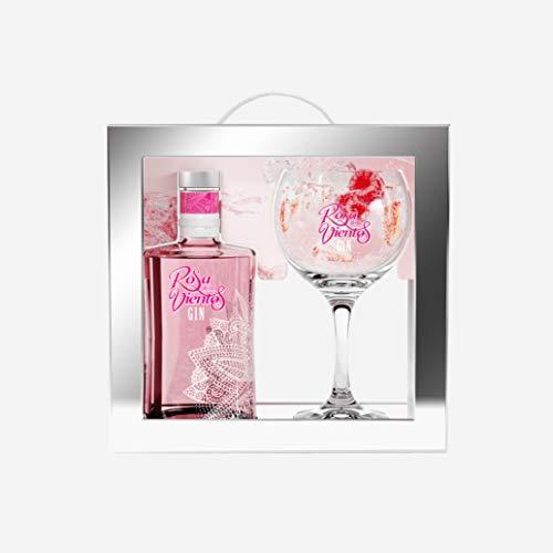 Ginebra Rosa de Los Vientos. Fresas, Frambuesas y Bayas de Enebro. Botella de 70 Cl. Volumen de Alcohol 37,5º (Botella + Copa)