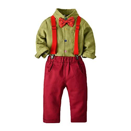 XFDYJ Disfraces para niños Monos De Camisa con Pajarita De Manga Larga para Niños Navideños Adecuados para Fiestas Navideñas En Interiores Y Exteriores,Green,90CM