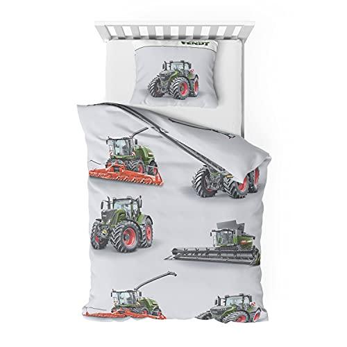 Träumschön Traktoren Bettwäsche 135x200 Jungen   Traktor & Mähdrescher Design   Bettwäsche aus 100% Baumwolle   FENDT Biber Bettwäsche
