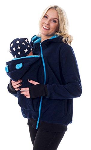 Divita 3in1 Tragejacke Umstandsjacke mit süssen Bärchen Ohren für Tragetuch Babytrage Fleece für Baby und Mama 46 (S/M (36/38), Dunkelblau/Türkis)
