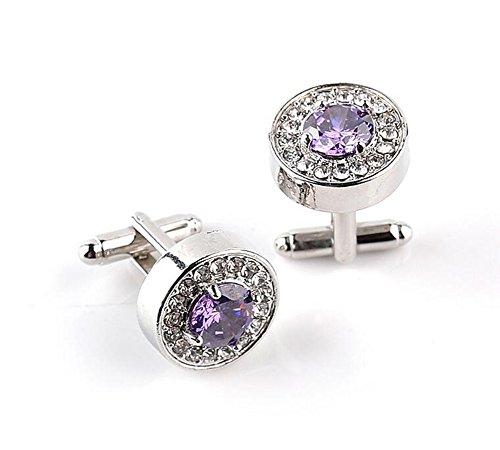 Demarkt 1 Paire Boutons de Manchette Diamant Rond en Cristal Chemise de Manchette