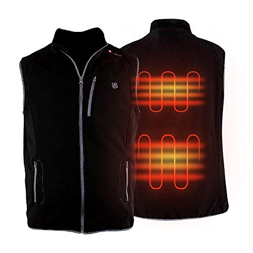 PROSmart Heated Vest Polar Fleece Lightweight Waistcoat with USB Battery Pack(Unisex,Black) (Black, XL)