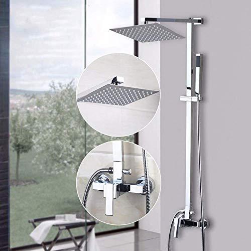 Yaeele De pared cromo ducha fija 8 cintas ducha de acero inoxidable cuadrado ultra-delgadas