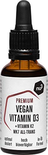 nu3 Vegan Vitamin D3 K2 Tropfen - 30 ml Premiumqualität - hohe Bioverfügbarkeit mit 500 IE Vitamin D pro Drop - mit MCT aus Kokosöl für eine schnellere Aufnahme - einfache Dosierung durch Pipette