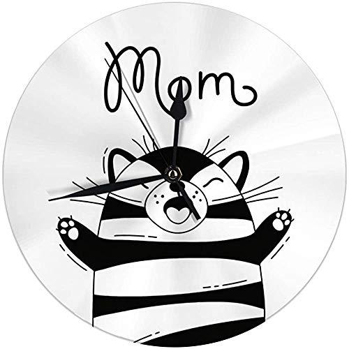 Wandklok grote vreugde kat, de moeder voor het ontwerp van de grappige Avaara-affiches en kaarten Leuke Anima Ronde keukenklok