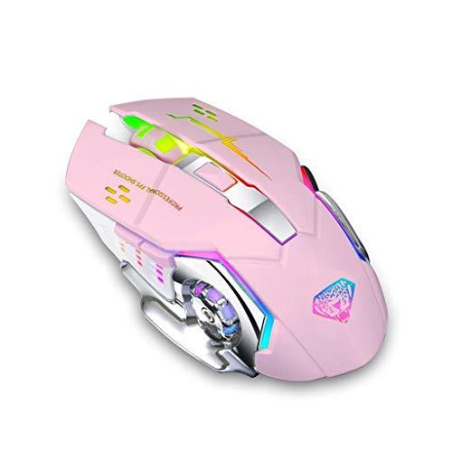 Divipard Q3 drahtlose, Silent Click, Gaming Maus für PC oder Mac ; 2,4GHz Funkmaus ; optischer Sensor bis zu 3200 DPI ; Hohe Präzision für Pro Gamer ; 6 Tasten und 7 Farben RGB Atemlicht (Pink)