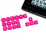 VULTURE Rubber Keycaps Cherry MX Double Shot Backlit 18 Keycap Set Compatible for Gaming Mechanical Keyboard OEM Profile Doubleshot Rubberized Diamond Textured Tactile Grip with Key Puller (Pink)