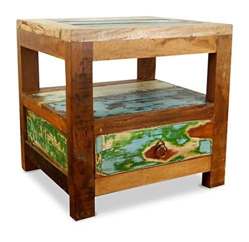 livasia Teakholz Nachtschrank aus Java   Recyceltes buntes Bootsholz   Asiatische Möbel   Designer Möbel aus Bootsholz   Massivholzkommode der Marke Asia Wohnstudio   Nachttisch   Beistelltisch