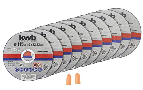 kwb 712021 Dünn-Trennscheiben für Winkelschleifer 115 mm Flex-Scheibe f. Edel-Stahl INOX in Aufbewahrungs-Dose inkl. Ohrstöpsel ABM. 115 x 1,0 x 22,23