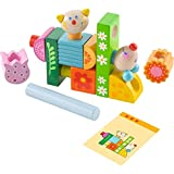 HABA Cat and Mouse Brain Builder Peg Set - with 14 Whimsical Wooden Stacking Elements and 20 Pattern Cards Featuring 3 Levels of Difficulty for Ages 2-6