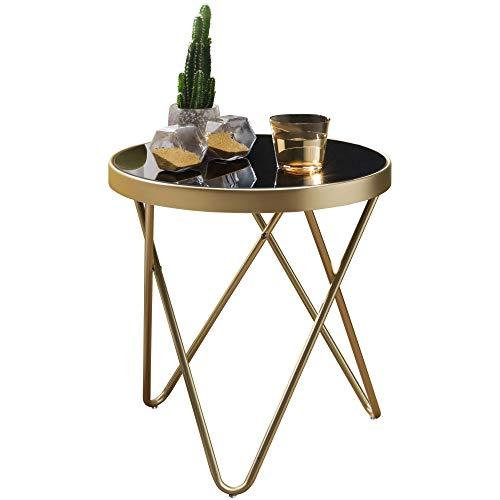 FineBuy Design Beistelltisch Daina 42 x 46 x 42 cm rund schwarz/Couchtisch matt Gold | Designer Glas Wohnzimmertisch modern | Glastisch mit Metallgestell | Kleiner Sofatisch
