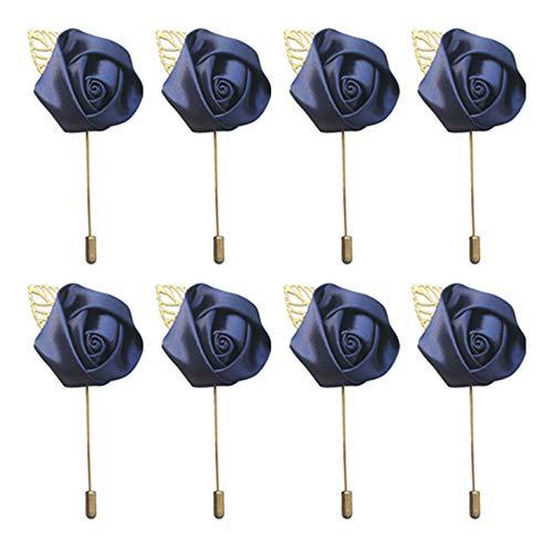 Amyseller 8 piezas de alfileres de solapa para hombre, hecho a mano, diseño de flor de satén, para novio, novio, novio, novio, novio, boda, regreso a casa, traje de baile (azul marino)