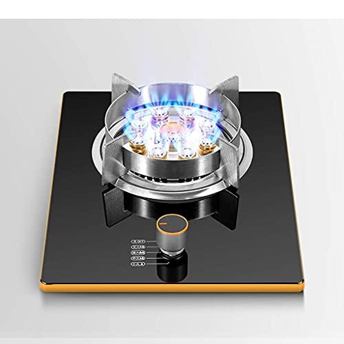 Estufa de gas, estufa de gas de sobremesa / cocina empotrada individual, quemador de anillo de fuego feroz de nueve cavidades de 7.0KW, con control de temperatura y anillos de cocina de acero inoxidab