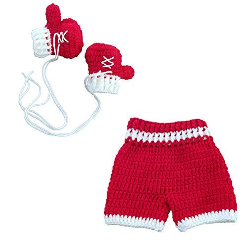 Bebé Recién Nacido Crochet Tejido Guantes de Boxeo Pantalo
