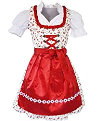 Please note ONLY our SIZE TABLE left on the PHOTO Dirndl: 100% Cotton Blouse: 100% Cotton Special features: Floral spreader, Ornaments and ruffles, lace Contrast frills and a white floral border on the neckline expertly enhance this dirndl