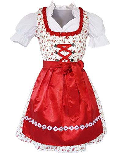 Kiddy Tracht 3tlg. Kinder Dirndl KD, Weiß Rot Geblümt, 152