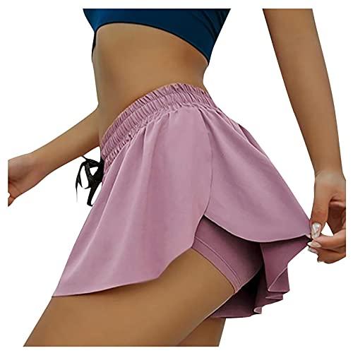 Verano Mujer Elegante Color Liso Culotte 2 en 1 Shorts Deportivos con Cintura Elástica Ajustable Suave y Transpirable Pantalones Cortos Mujer Pantalón Corto Deporte Mujer para Fitness