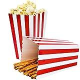 ZEEREE Popcorn Boxes Sorpresa patrón de Rayas Decorativas para Fiesta para los favores de la Fiesta de Cine, 24 Piezas (Rojo)
