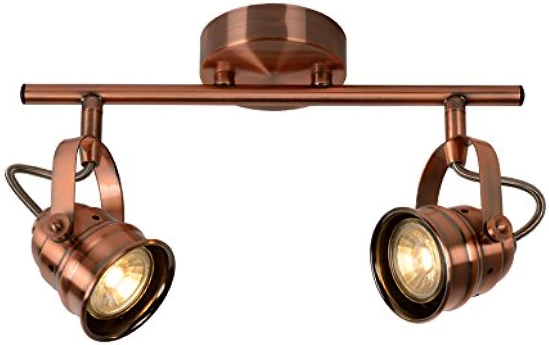 Lucide Cigal-Deckenstrahler-Durchmesser 9 cm-LED-GU10-2x, 2700 K, Metall, GU10, 5 W, Copper, 30,5 x 30,5 x 18 cm
