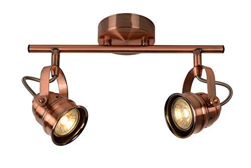 Lucide CIGAL - Spot Plafond - Ø 9 cm - LED - GU10 - 2x5W 2700K - Cuivre