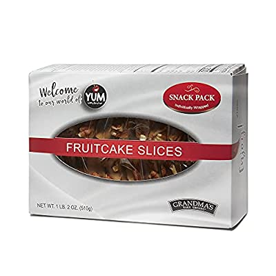 Grandma's Fruitcake, Individually Wrapped Slices Fruit and Nut Cake, 26 Pieces of Moist Cake in Box for an On-The-Go Snack
