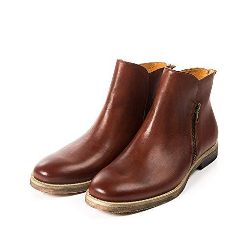SMSZ handgemaakte mannen Chelsea laarzen Retro Europese en Amerikaanse werkkleding laarzen mode lederen heren laarzen nonchalant (kleur: rood, Maat : 6-UK)
