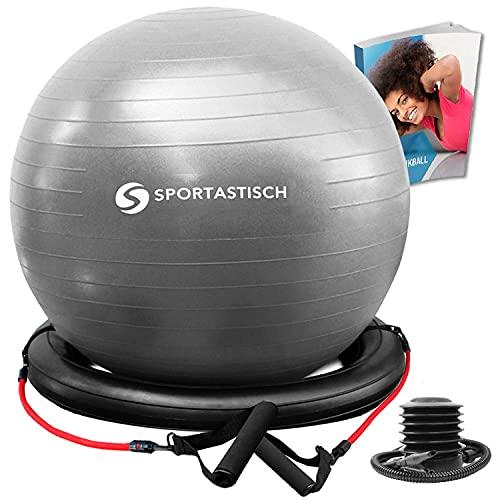 Sportastisch Top¹ Ballon Fitness Workout Ball avec base, bandes de résistance & pompe | Ballon d'exercices anti-éclatement | ballon suisse pour yoga, gym, pilates & grossesse | garantie jusqu'à 3 ans²