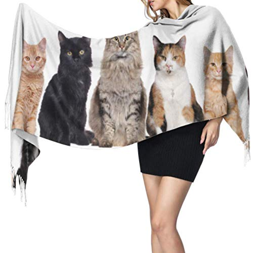 Cute Warm Heart Smile Animal Pet Cat Bufanda para mujer Bufanda de cachemira ligera y ligera Bufanda con flecos 77x27inch / 196x68cm Large Soft Pashmina Extra Warm