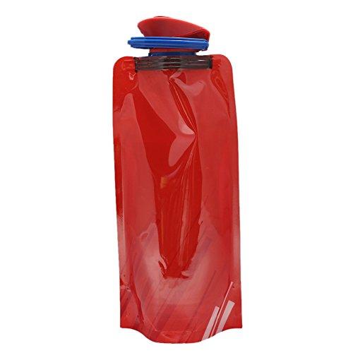 Wodery polymère pliable Bouteille d'eau douce Eau Sac Portable bouilloire 700 ml sans BPA, Red