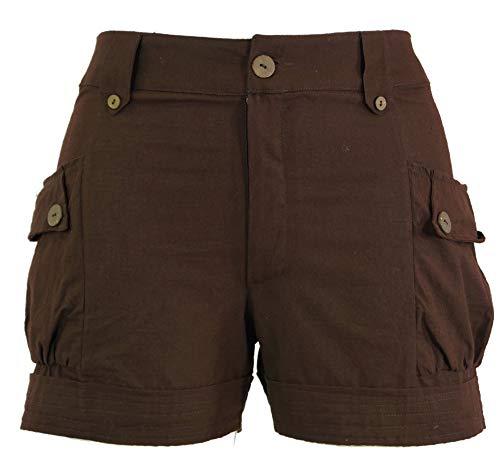 Guru-Shop, Pantaloncini Boho-chic, Pantaloncini, Marrone Moka, Cotone, Dimensione Indumenti:XL (42), Pantaloncini e 3/4 Pantaloni, Leggings