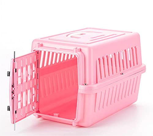 BEBEBAO Pet Carrier with Handle for Small,Plastic Portable Hard Sided Cat Dog Rabbits Carrier for Small Pets Below 3.5 KG (Pink,Without Board)