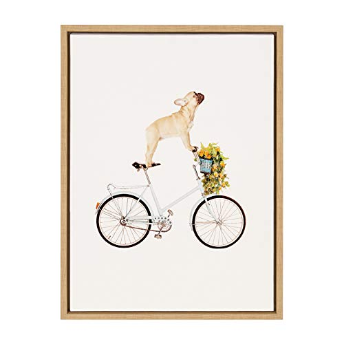 Kate and Laurel Sylvie Frenchie Bulldog Framed Canvas Wall Art by Amy Peterson, 18x24 Natural, Adorable Whimsical Dog Decor