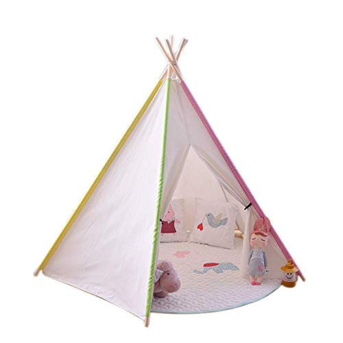 Barm Spiral canvas indian children's play house,Cotton solid wood easy to accept children's game tent indoor playhouse princess castle boys and girls toy house children's gifts-A