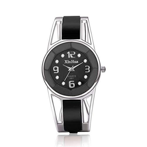 XIALINR Reloj De Cuarzo For Mujer, Reloj De Cuarzo De Las Señoras, Superficie De Espejo De Diamante. Pulsera De Acero Inoxidable Hueco. Reloj de Moda (Color : Black)