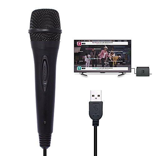 KOBWA USB Mikrofon Kompatibel mit Nintendo Switch, Windows PC, WII U, PS4 Mikrofon für Let's Sing/We Sing/Singstar/Just Sing/Guitar Hero/Rock Band und Andere Singspiele