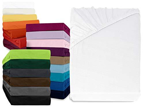 npluseins klassisches Jersey Spannbetttuch - erhältlich in 34 modernen Farben und 6 verschiedenen Größen - 100% Baumwolle, 90-100 x 200 cm, weiß