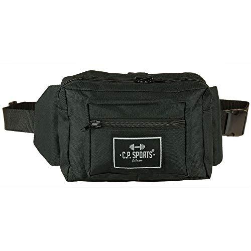 C.P. Sports Gürteltasche, Bauchtasche, Hüfttasche in 9 Farben - Doggy Bag, Waistbag für Damen und Herren Sport und Outdoor, 3 Fächer mit Reißvershluß, Bodybuilding Tasche für Handy (Schwarz)