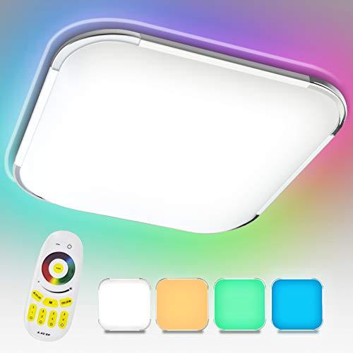 Hengda Plafoniera LED Dimmerabile, 64W 5760LM, RGB Lampada da soffitto, con telecomando, LED Lampada per soggiorno, camera da letto, cucina, sala da pranzo, ufficio, IP44