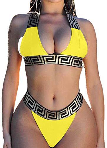 Bikini Push up Mujer Cuello Halter Top Brillante Braguita Triangulo Tanga de Cintura Alta Traje de Baño Dos Piezas