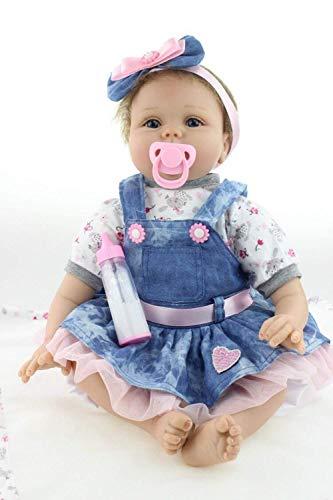 HRYEOY 22 Pulgadas 55 cm Hecho a Mano Reborn Baby Dolls Girl Suave Silicona Encantador Realista Chico Lindo Juguete de niña Que se ve Real niño recién Nacido Regalo de cumpleaños