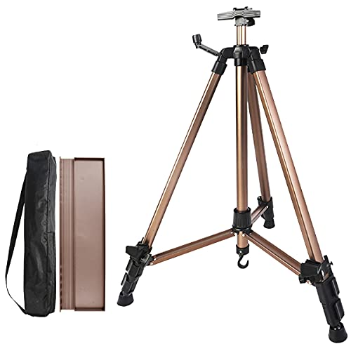 Coestai 60' Painting Easel Stand, 30'to 60'Adjustable Easel for Painting Canvases Aluminum Art Easel with Paintbrush Tray Display Stand (Gold)