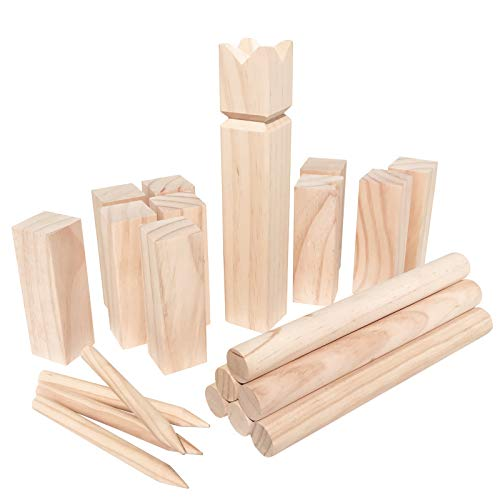 WELLGRO® Kubb Spiel 22-TLG. - für 2-12 Spieler, massiv Holz, Wikingerspiel inkl. Spielanleitung und Netzbeutel - Schwedenschach Rasenschach Wurfspiel