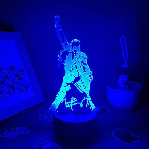 3D Night Light Queen Freddie Mercury - Figura 3D con iluminación LED de noche para niños, regalo ideal para amigos